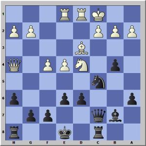 Wit speelde hier Lb5+??. Na axb5 Pxb5 zette zwartspeler Losekoot zijn tegenstander mat. Zie je hoe?