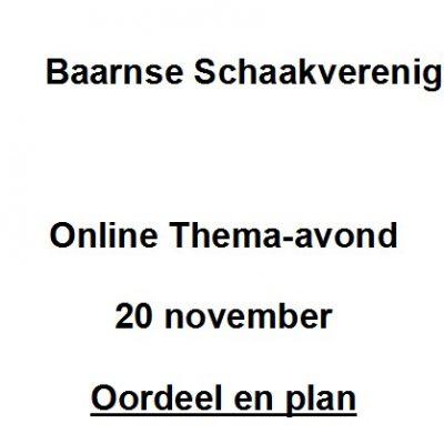 """20 november: thema-avond """"Oordeel en plan"""""""
